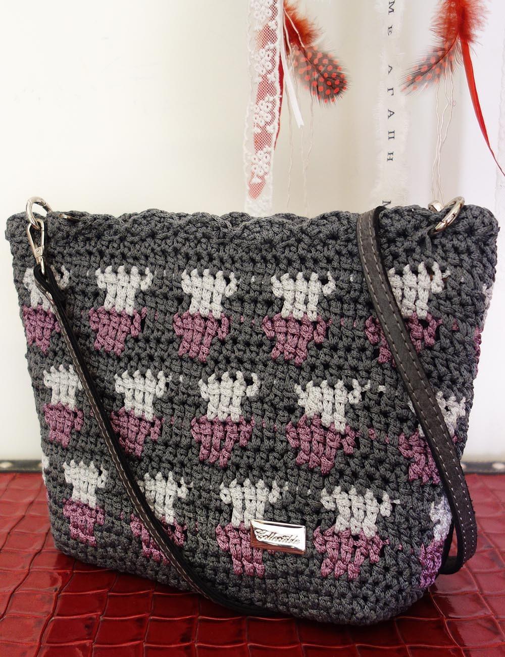 Handmade women's knitted bag